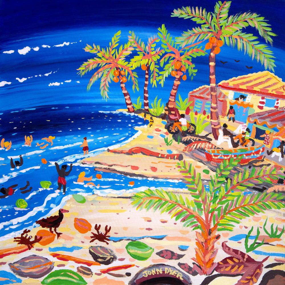 John Dyer Painting. Blue Seas and Coconut Trees, Costa Rica
