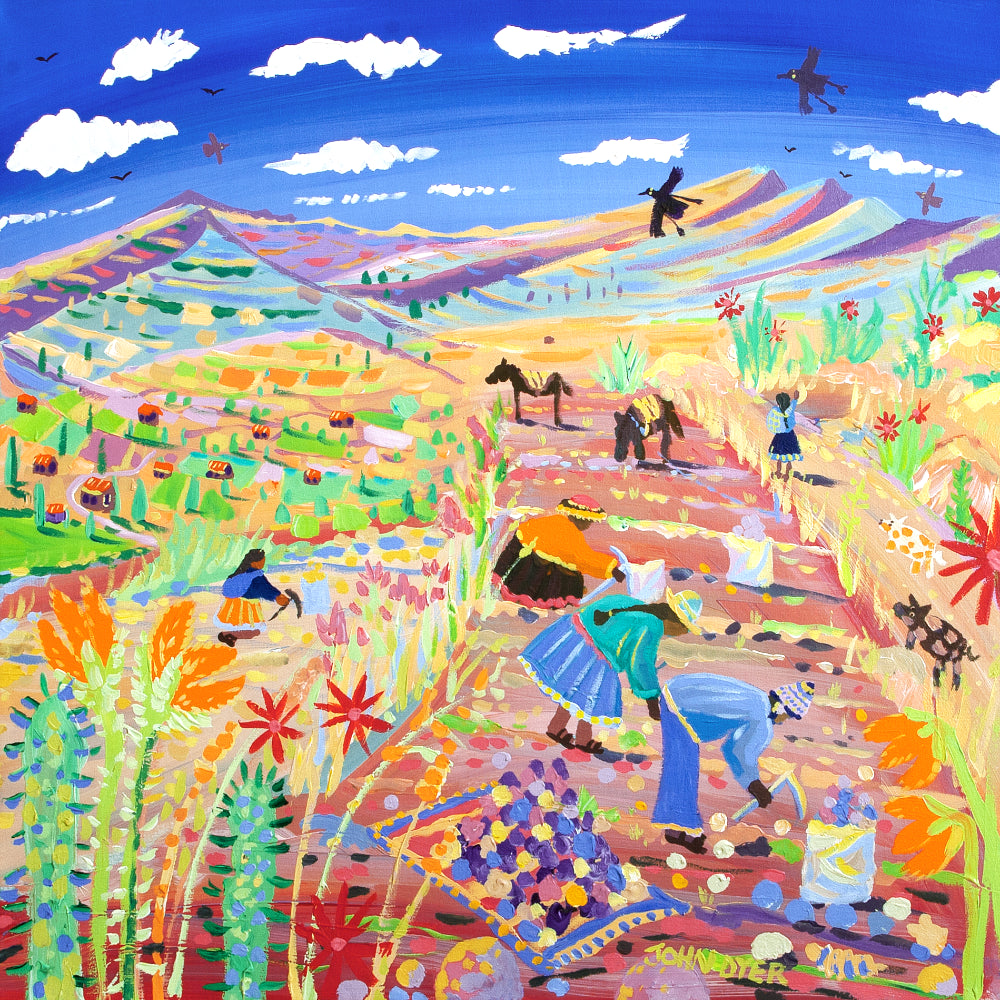 John Dyer Painting. The Potato Harvest, Amaru, Peru