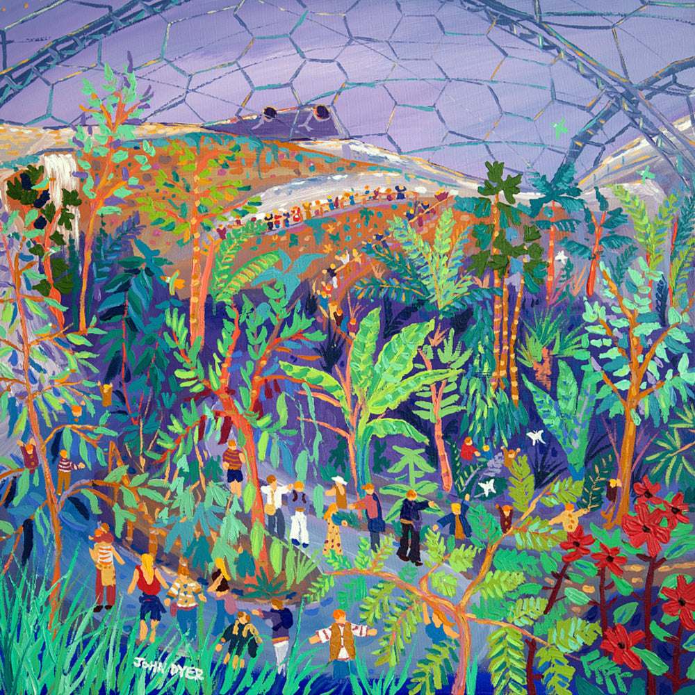 Original Painting by John Dyer. Steaming around Eden. The Eden Project Cornwall.