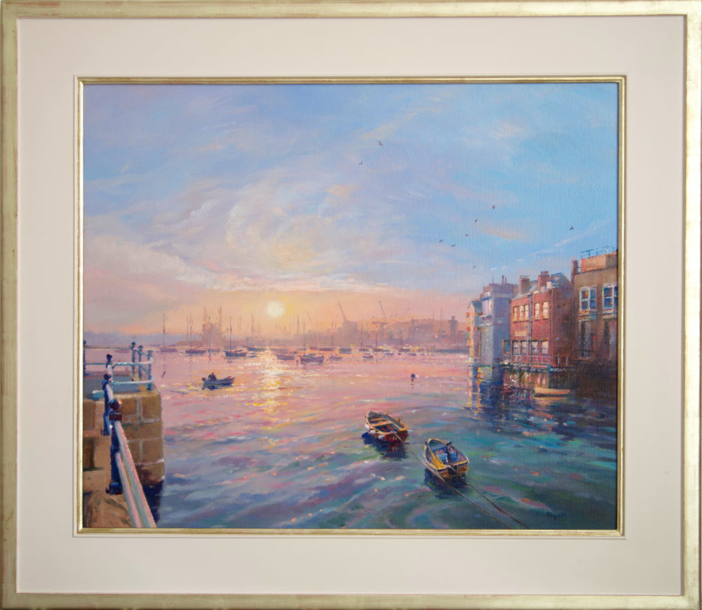 A stunning oil painting capturing the sunrise across Falmouth Harbour from the Prince of Wales Pier. This accomplished oil painting by Cornwall's leading impressionist artist is filled with subtle tone and colour. Seagulls fly across the warm sky and the artist has captured the movement and colour of the water perfectly. A collector's piece.