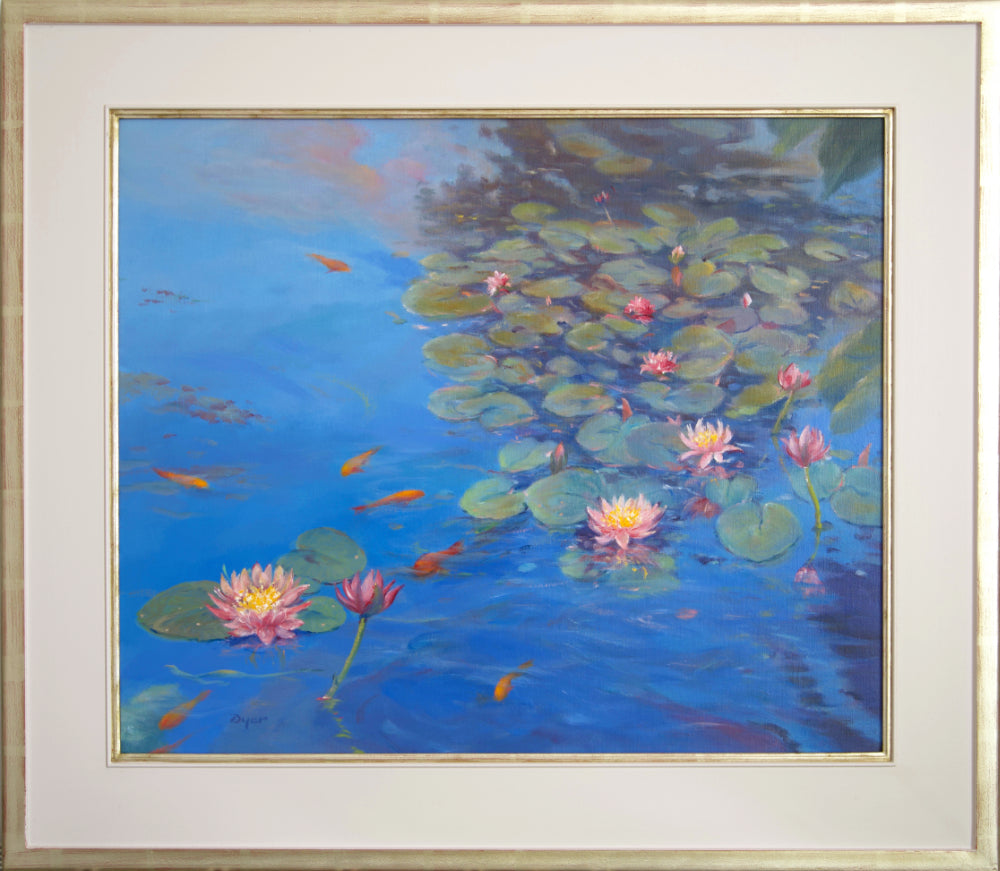 Ted Dyer Oil Painting. Water lilies and Sky Reflections, Kimberley Park Pond, Falmouth