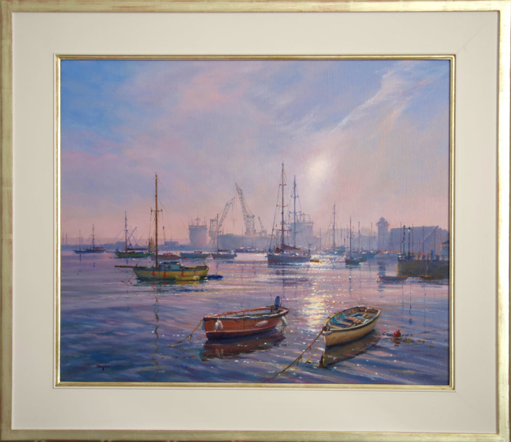 Ted Dyer Oil Painting. Early Morning Calm, Falmouth Harbour