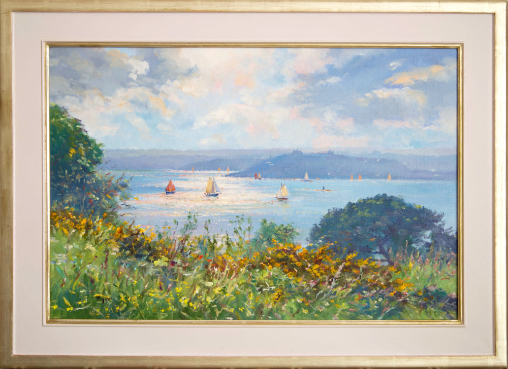 Ted Dyer Oil Painting.  Burst of Light, Carrick Roads
