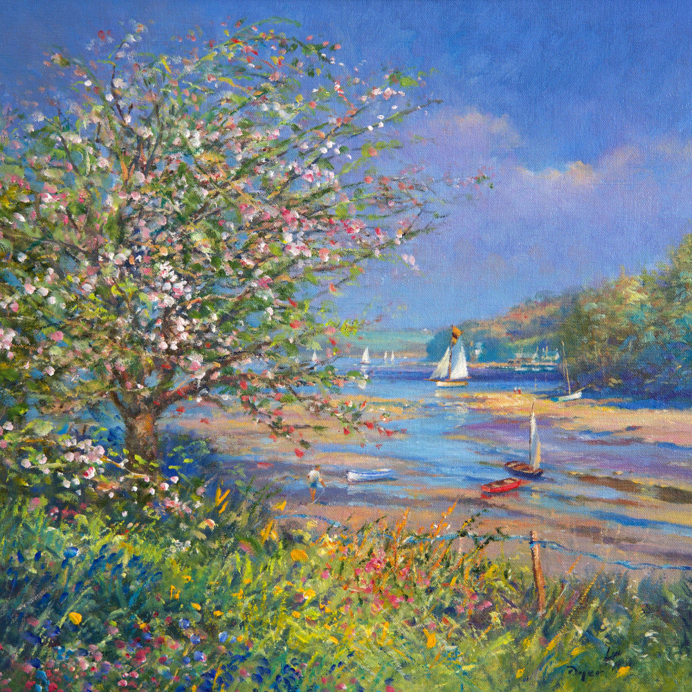Ted Dyer Oil Painting. Bright Spring Day, Helford