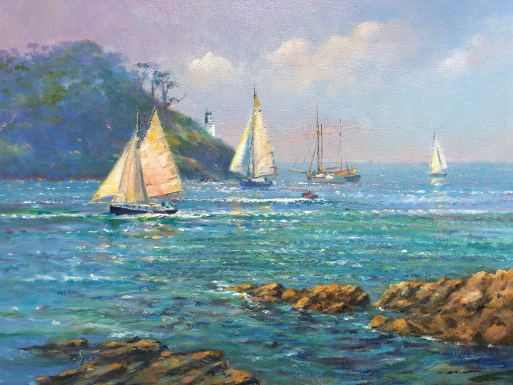 Ted Dyer Oil Painting. Sunlit Sails, St Anthony Head