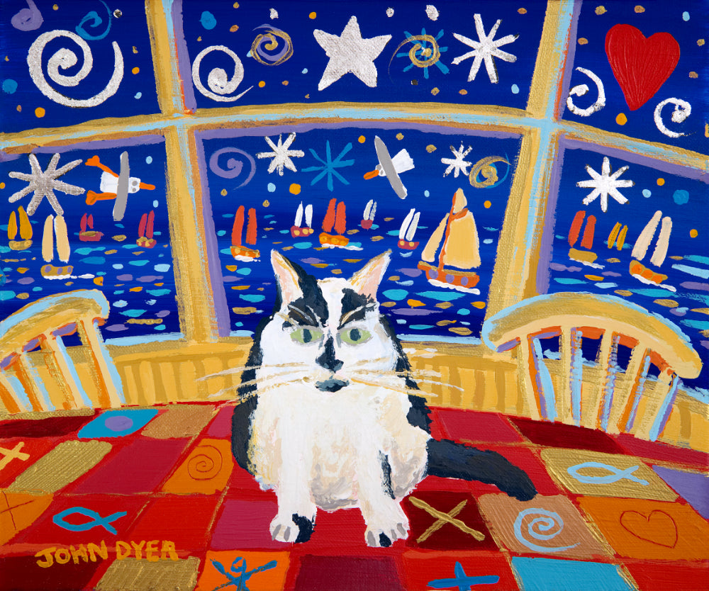 Black and white cat sat on a table. Art print by John Dyer.