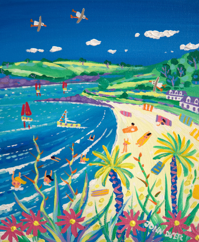 John Dyer Painting. Siziling Summer Day, Gyllyngvase Beach
