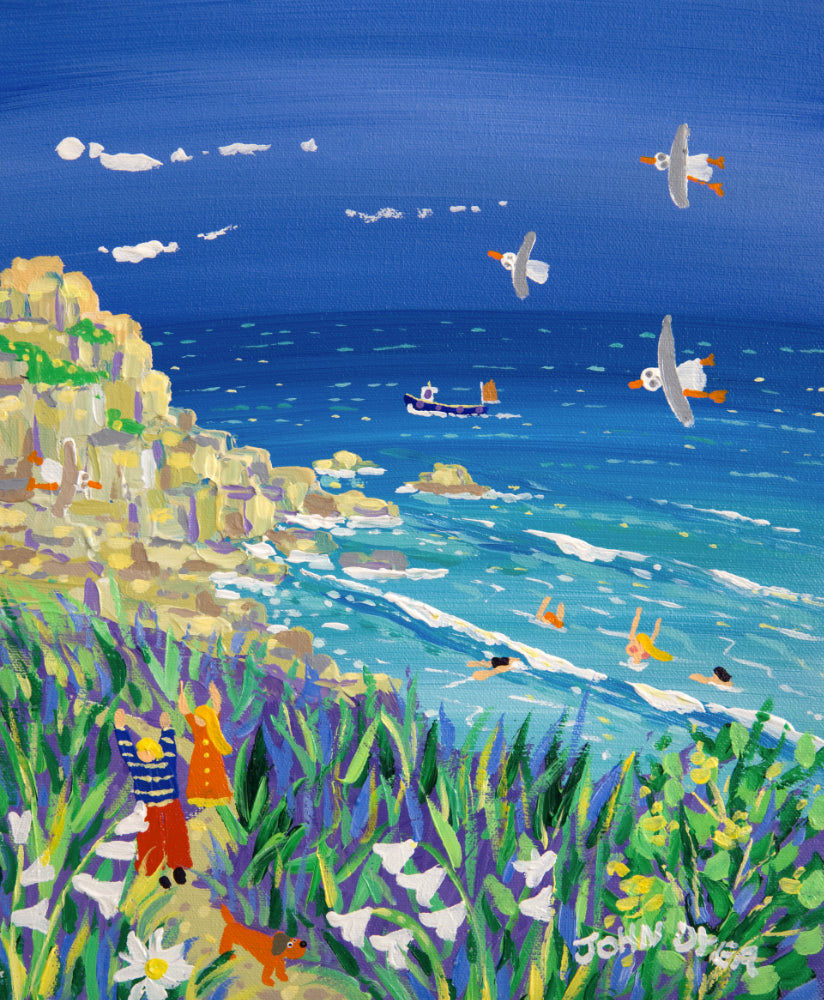 John Dyer Painting. Walking to Porthcurno Beach, Cornwall