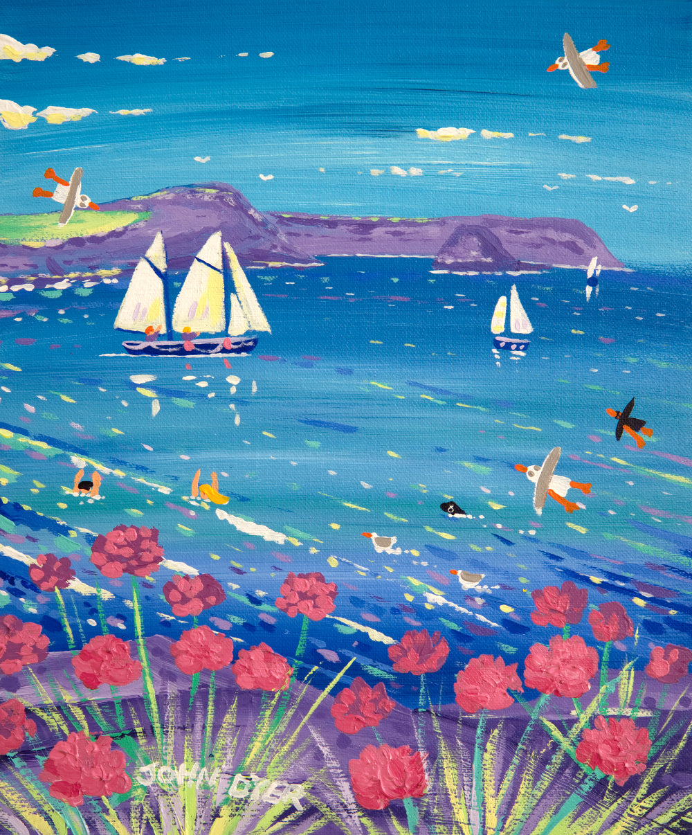 John Dyer Painting. Seapinks and Sailing Boats, Roseland