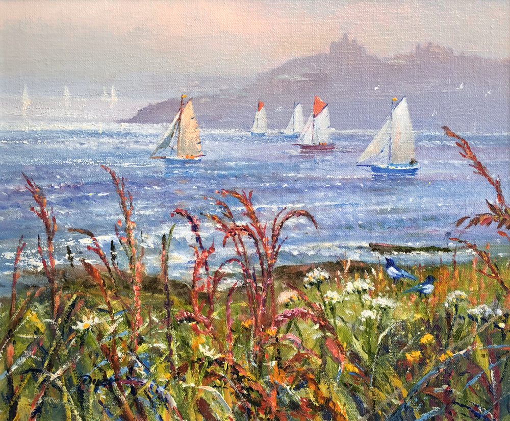 Original Oil Painting on Canvas. Sailing Past Pendennis Castle. By British Artist Ted Dyer