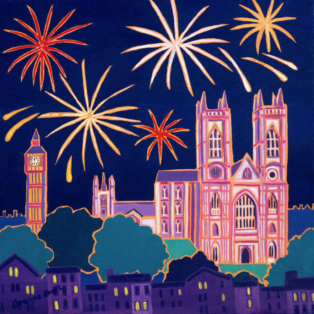Original Painting by Joanne Short. New Year Celebrations, Westminster Abbey, London