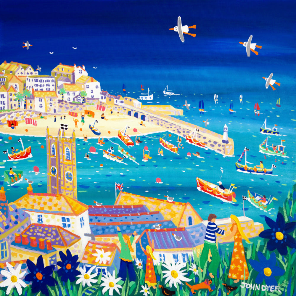 View across the harbour to St Ives in Cornwall by artist John Dyer. Limited edition signed print.