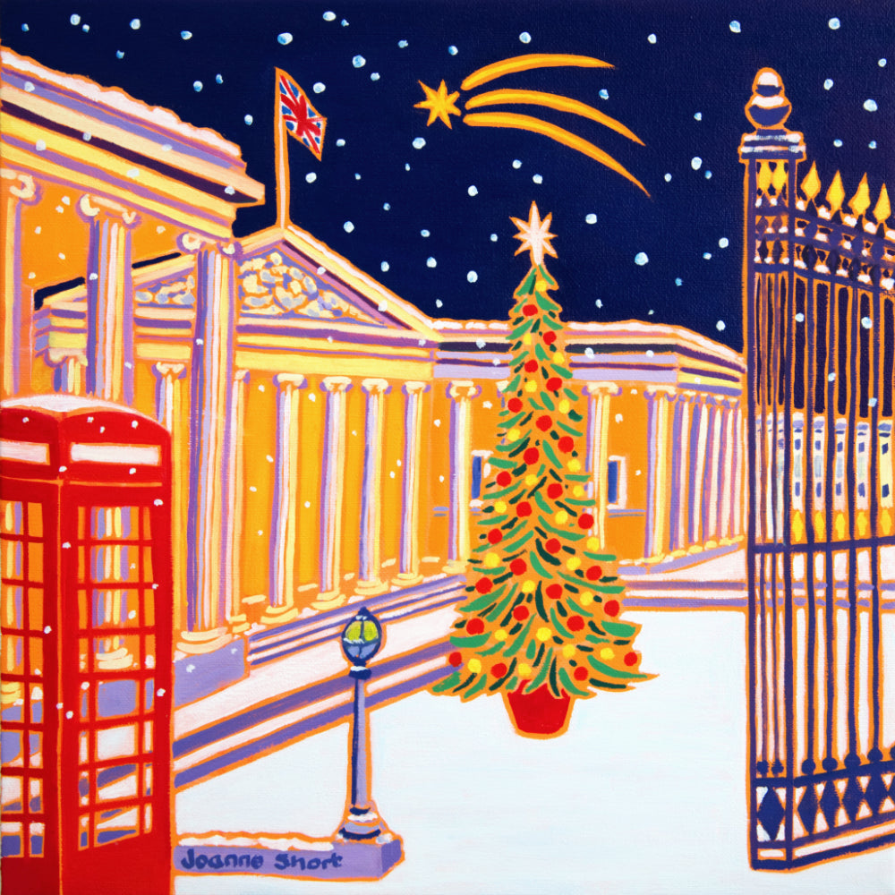 Original Painting by Joanne Short. Shooting Star, British Museum, London. Christmas tree