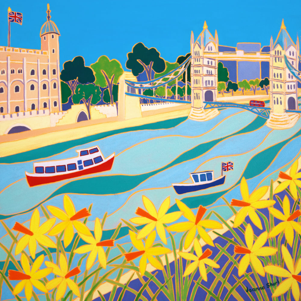Original Painting by Joanne Short. River Boats and Daffodils, Tower Bridge, London