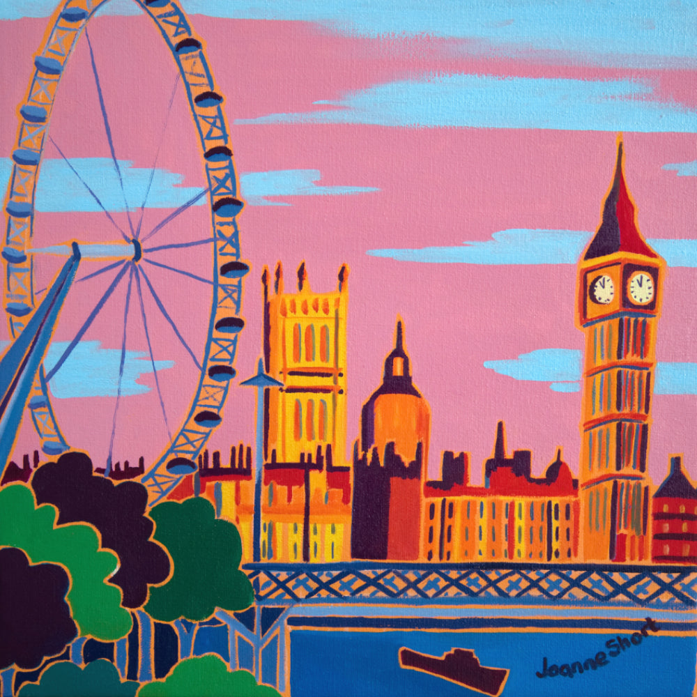 Original Painting by Joanne Short. Evening Sky at the London Eye