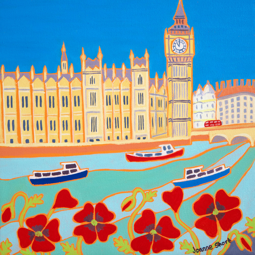 Original Painting by Joanne Short. Cruising past Big Ben, London