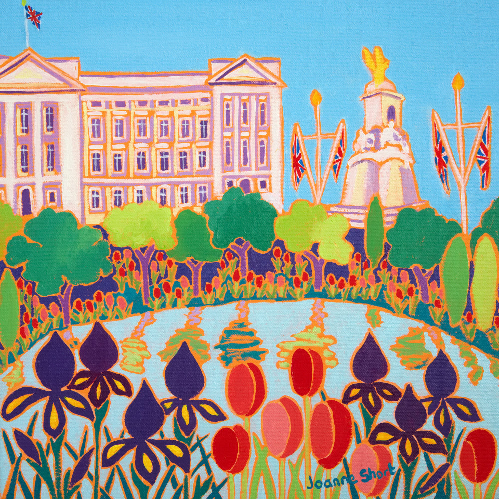 Original Painting by Joanne Short. Tulips and Irises, Buckingham Palace, London