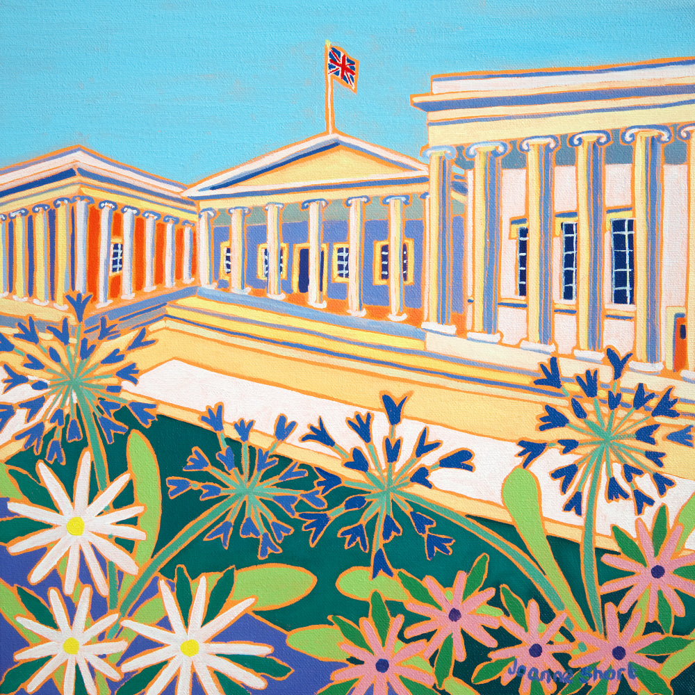 Original Painting by Joanne Short. Summer Flowers at The British Museum, London