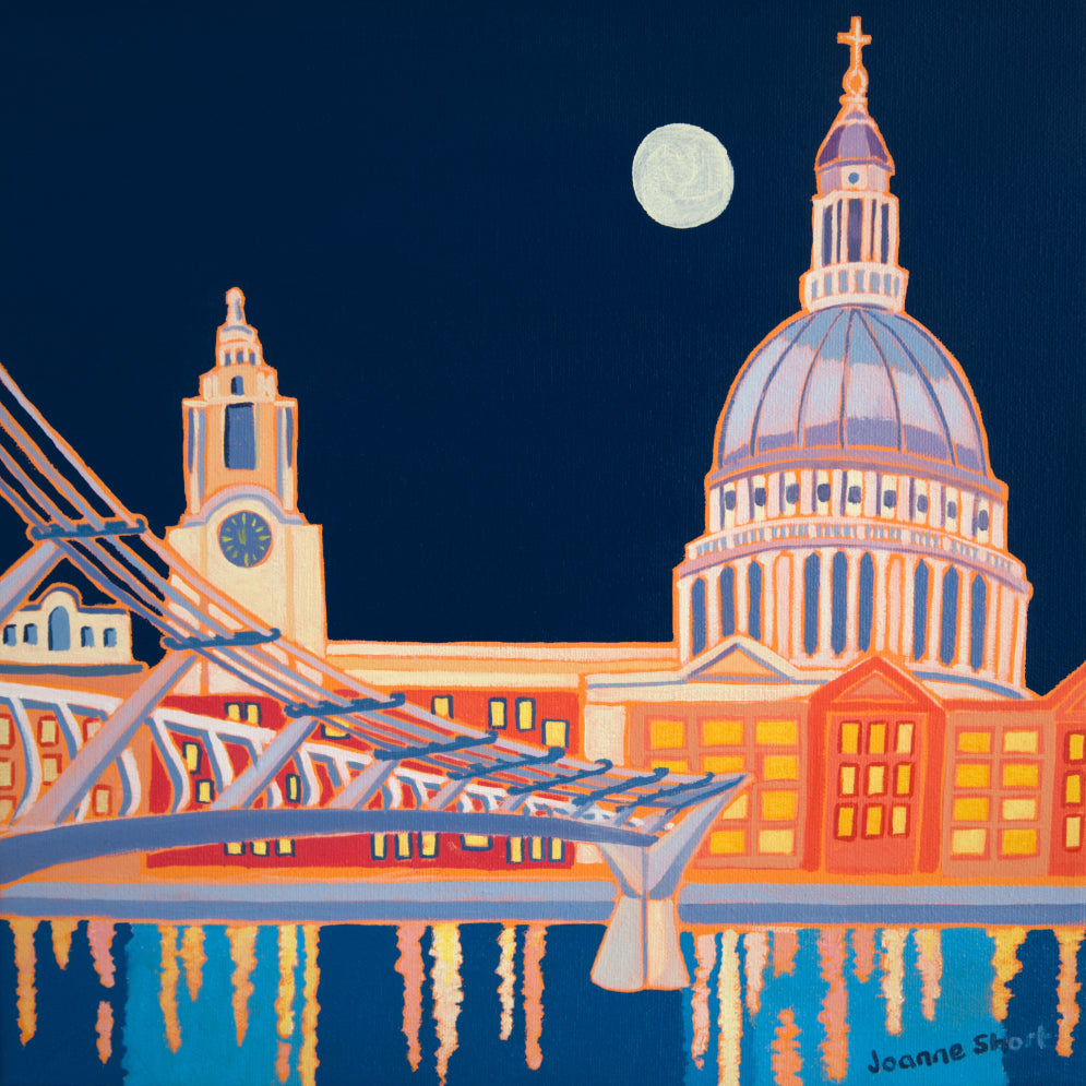 Painting by Joanne Short. Full Moon over St Paul's Cathedral, London