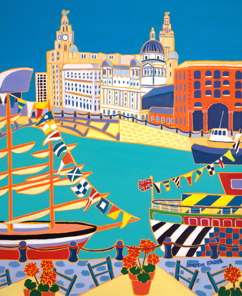 Painting by Joanne Short. Boats, Flags and Liver Birds, Liverpool