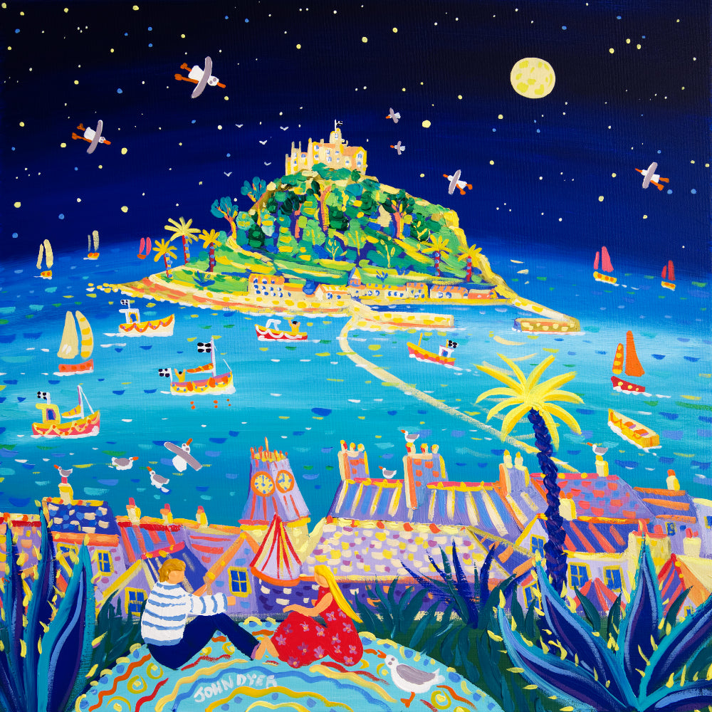 John Dyer Painting. Moonlit Mount, Marazion, Cornwall