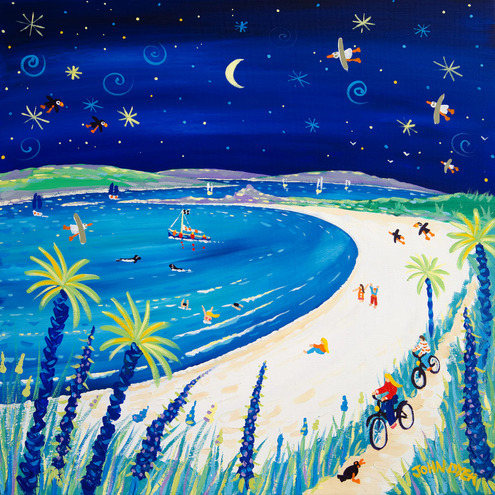 John Dyer Painting. Moonlit Cycle Ride, Pentle Bay, Tresco