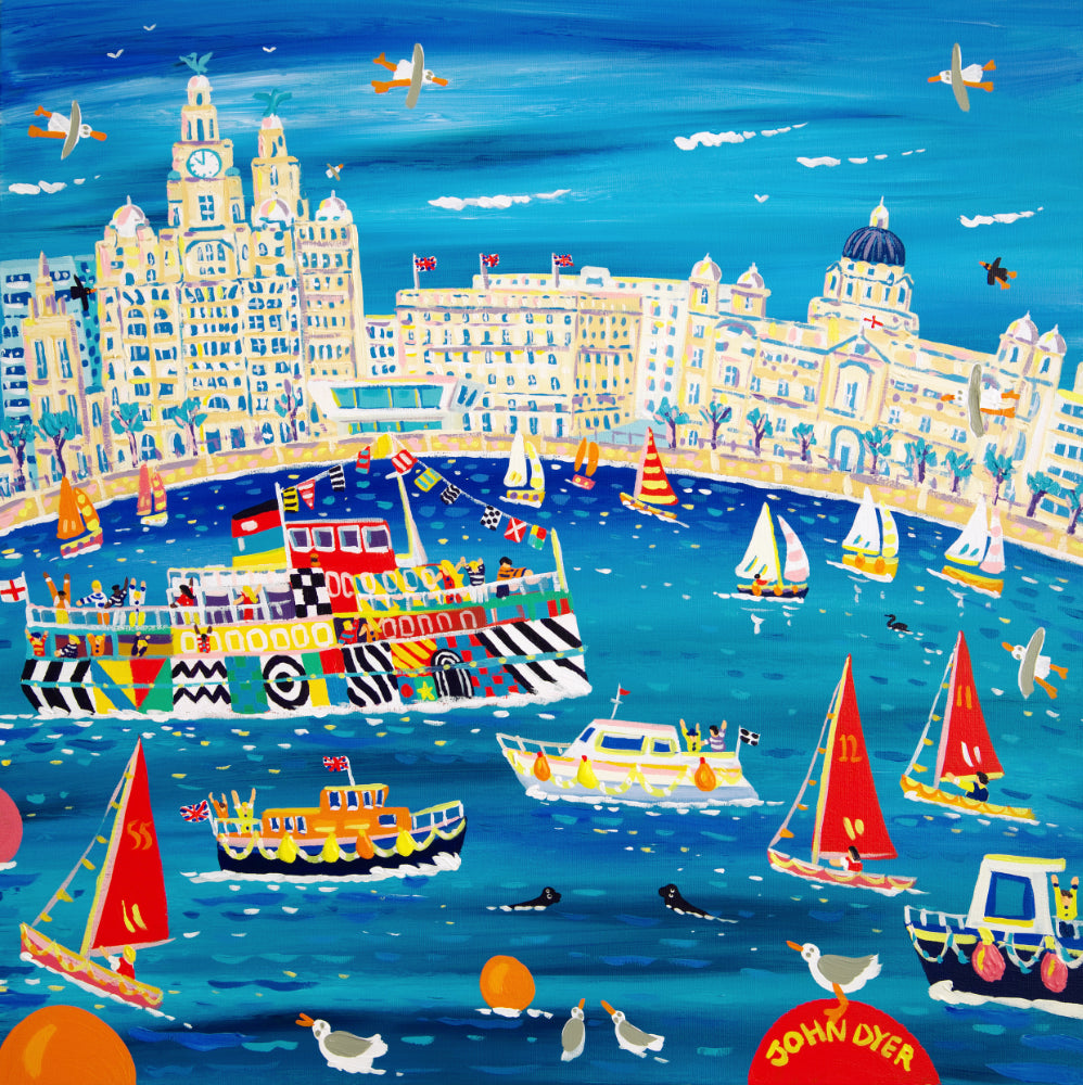 John Dyer Painting. Fun on the Mersey, Liverpool