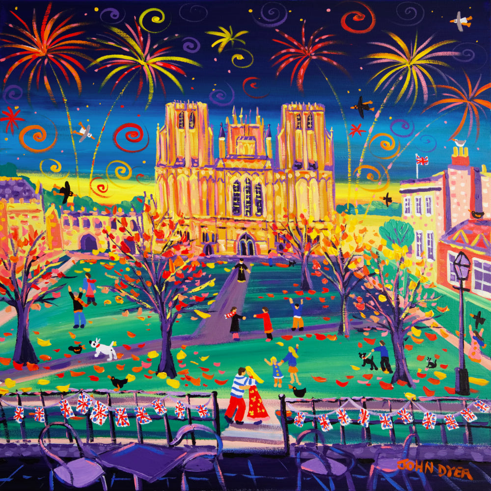 John Dyer Painting. Cathedral Cuddle, Wells, Somerset