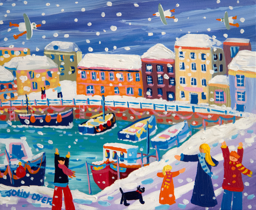 John Dyer Painting. Snow Flurries, Customs House Quay, Falmouth.