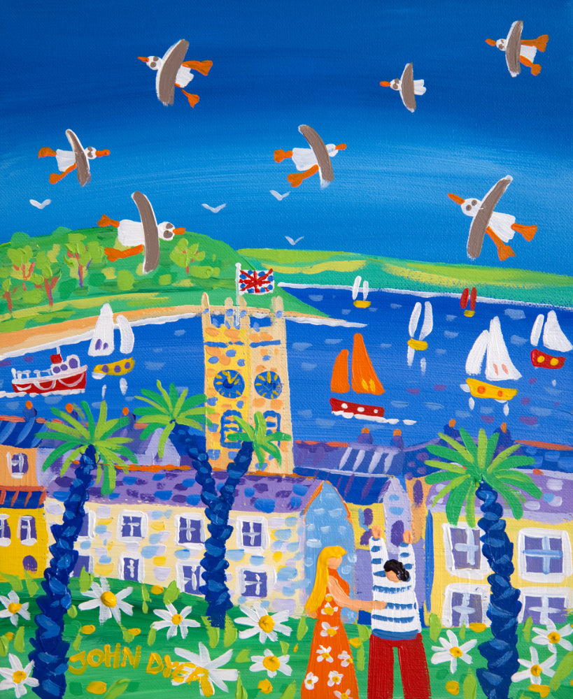 John Dyer Painting. Happy Days and Summer Sunshine, Falmouth