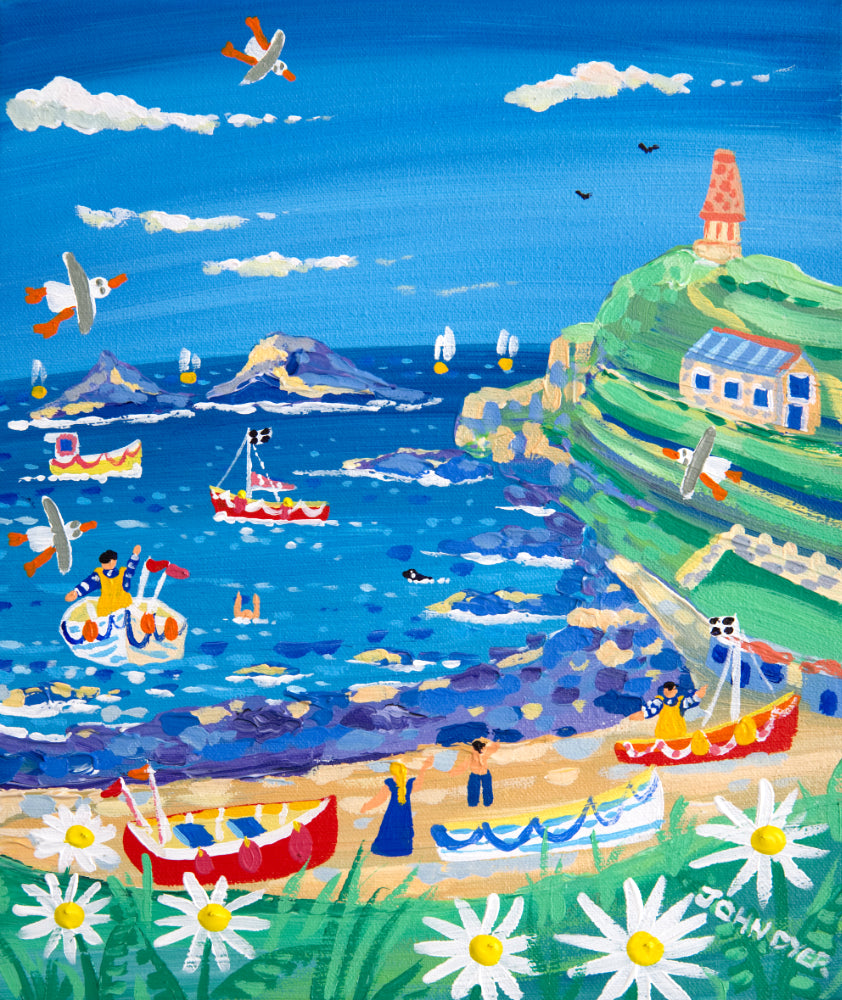 John Dyer Painting. Blue sea and fishing Boats, Cape Cornwall.