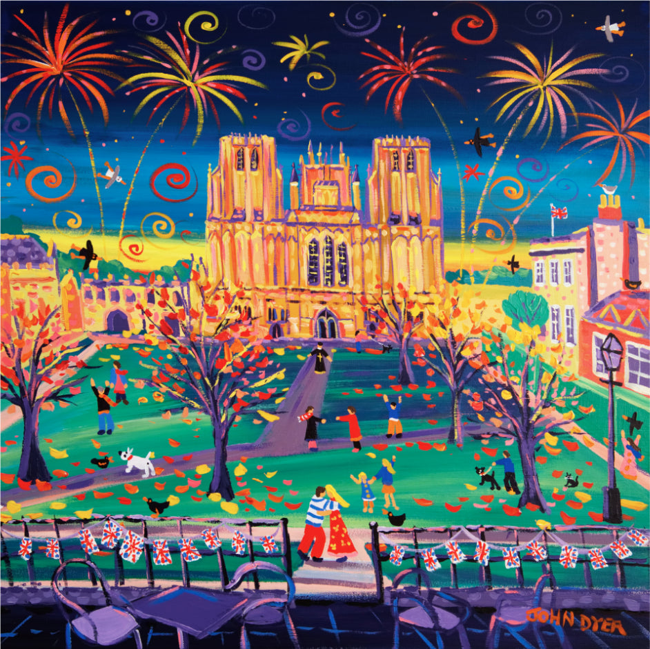 Limited Edition Print by John Dyer. Cathedral Cuddle, Wells, Somerset