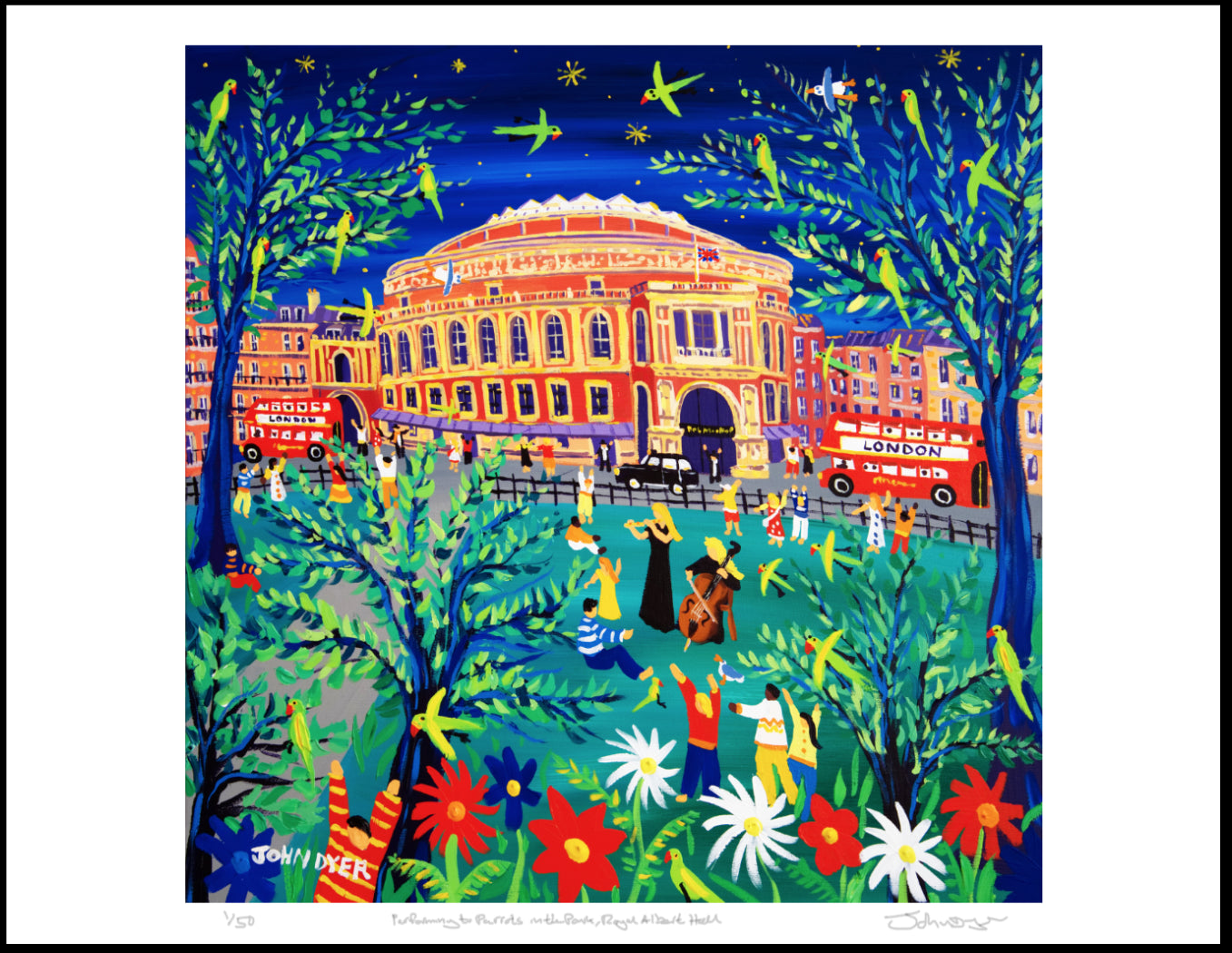 The Royal Albert Hall in London. Painted by British artist John Dyer. A flautist (Martha-Lilly Dyer) and cellist (Wilamena Dyer) play in Hyde park with stars and parrots overhead. Red London busses and a black cab drive past