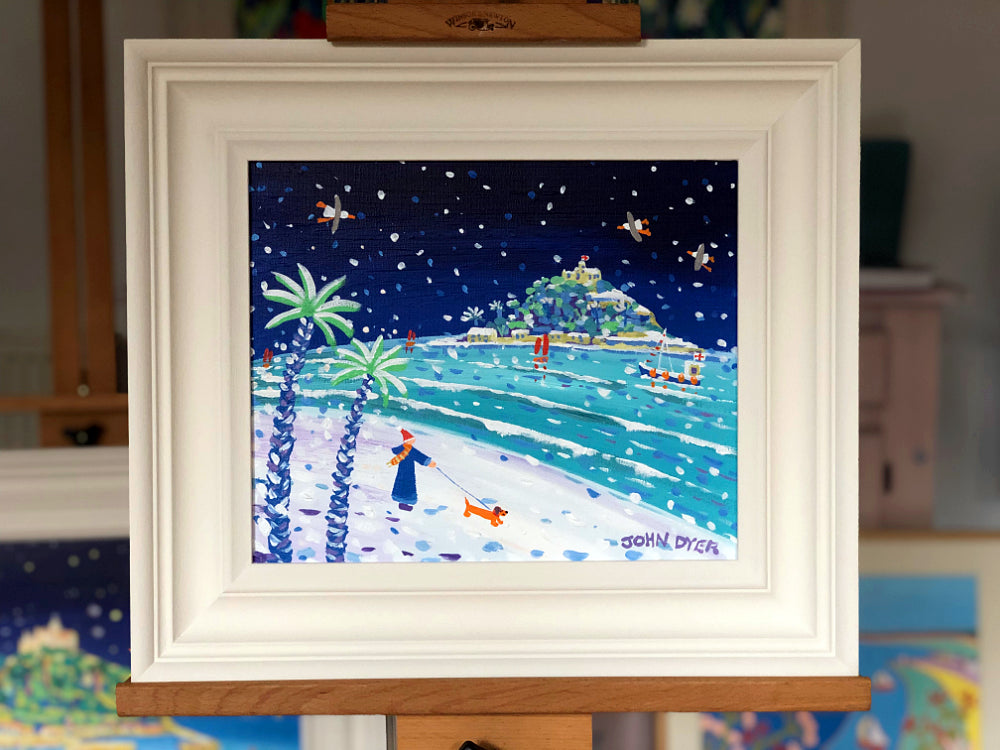 John Dyer Painting. Snowy Sausage Dog Walkies St Michael's Mount