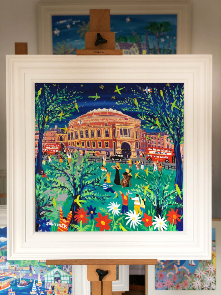 John Dyer Painting. Performing to the Parrots in the Park, Royal Albert Hall, London. Cello and flute music