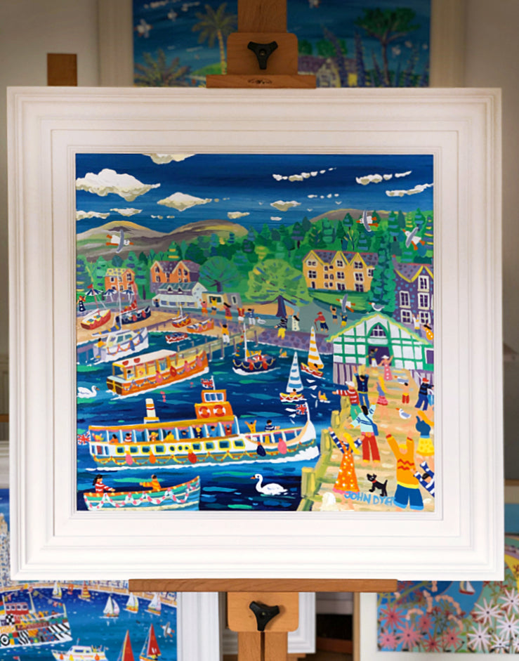 John Dyer Painting. Ferries and Fun, Ambleside Pier, The Lake District