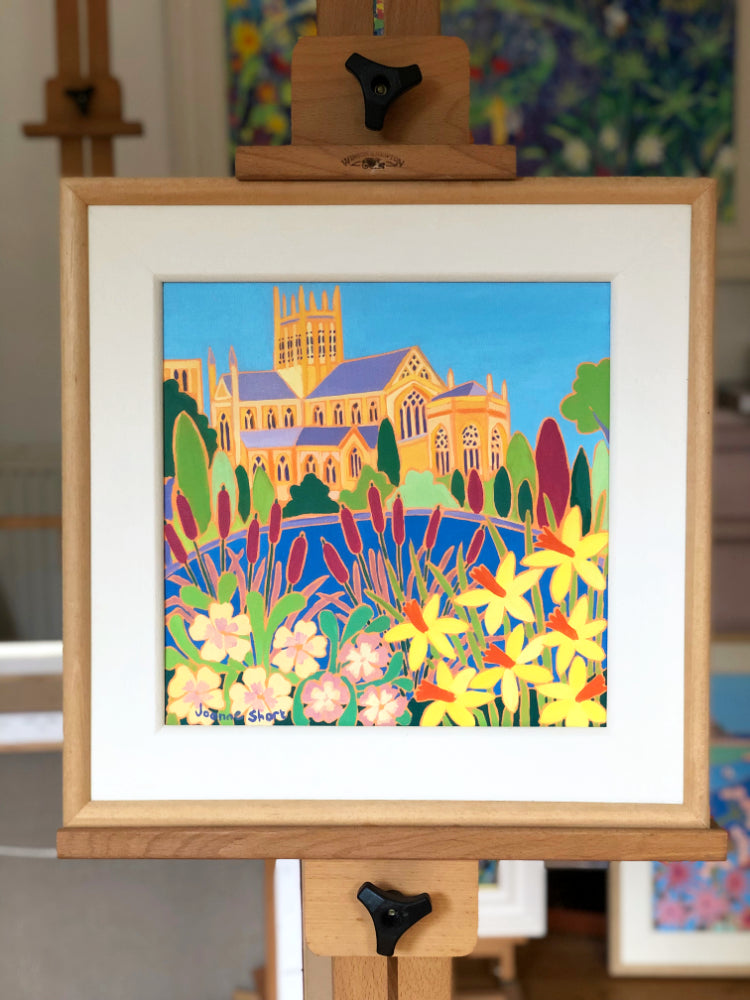 Painting by Joanne Short. Wells Cathedral from the Bishop's Palace Gardens