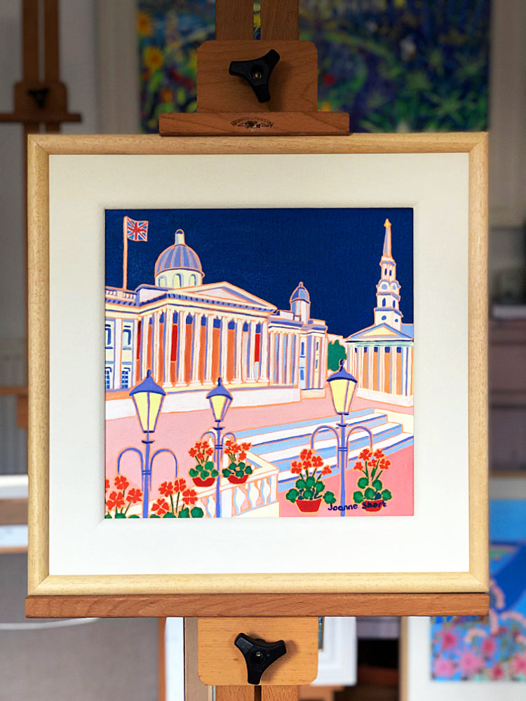 Original Painting by Joanne Short. Midnight Blue Sky, Trafalgar Square London