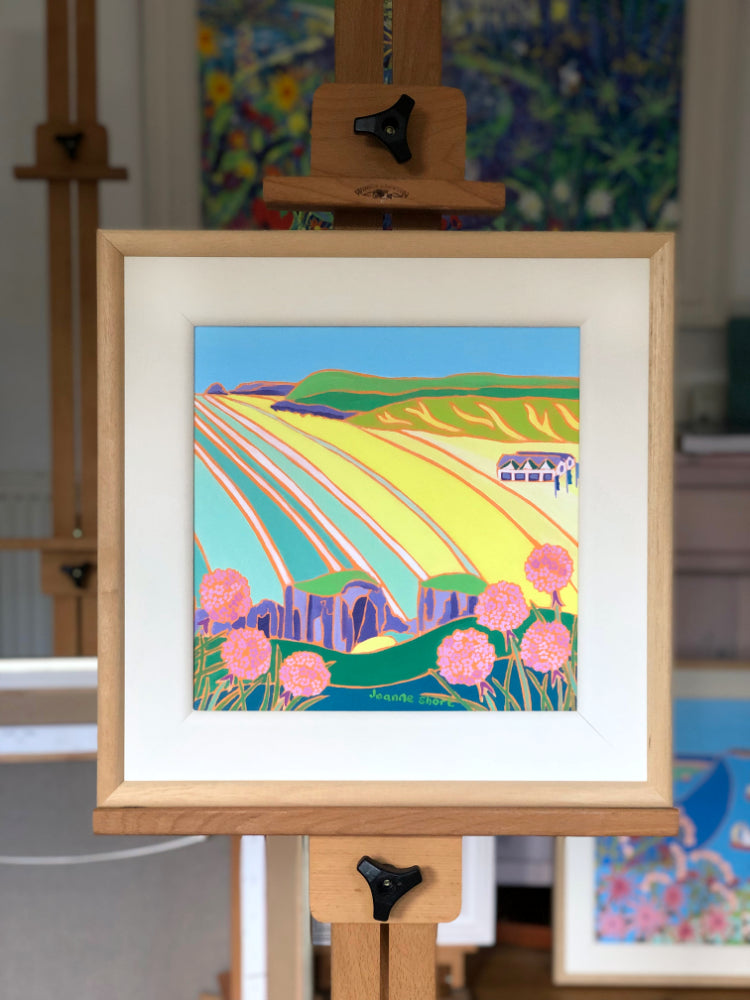 Original Painting by Joanne Short. Sea Pinks at Perranporth Beach