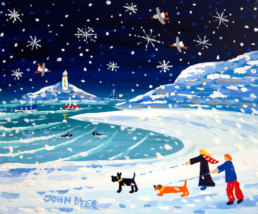John Dyer Limited Edition Print. Pawprints and Footprints, Godrevy Lighthouse.