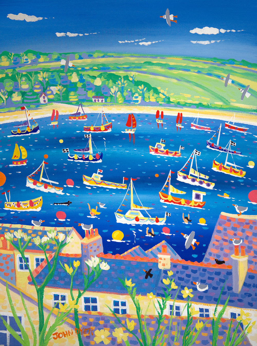 John Dyer Painting. Bobbing Boats on the River, Falmouth, Cornwall
