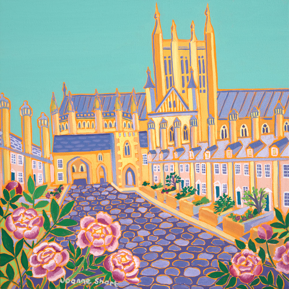 Joanne Short Painting. Summer Flowers, Vicars' Close, Wells