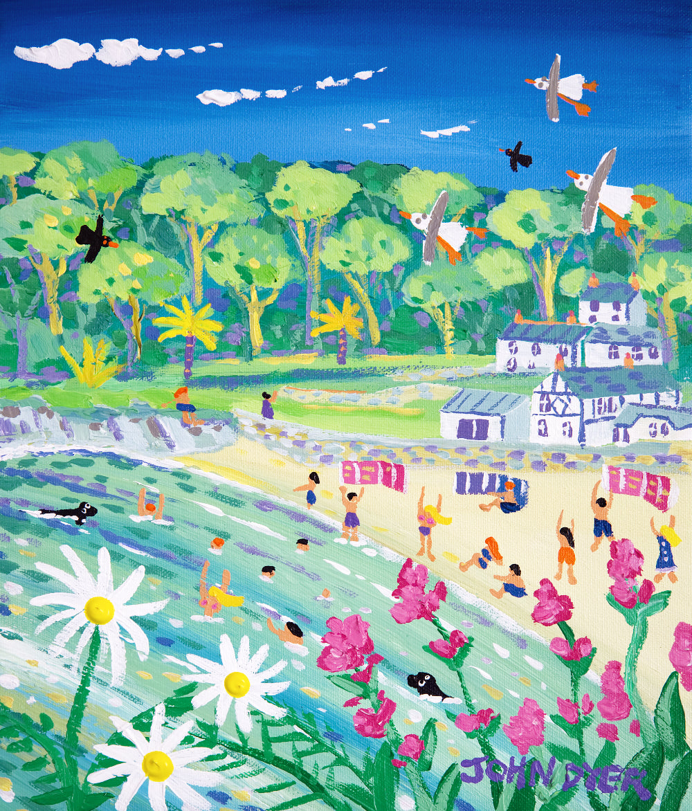 John Dyer Painting. Spring Fun at Readymoney Cove, Fowey