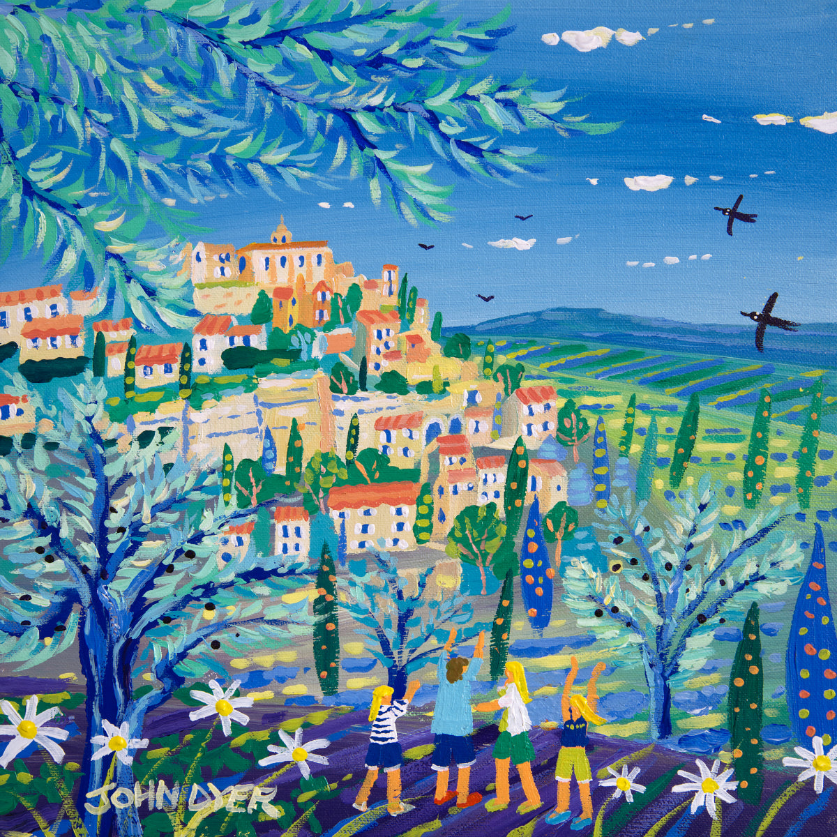John Dyer Painting. View through the Olives to Gordes, Provence