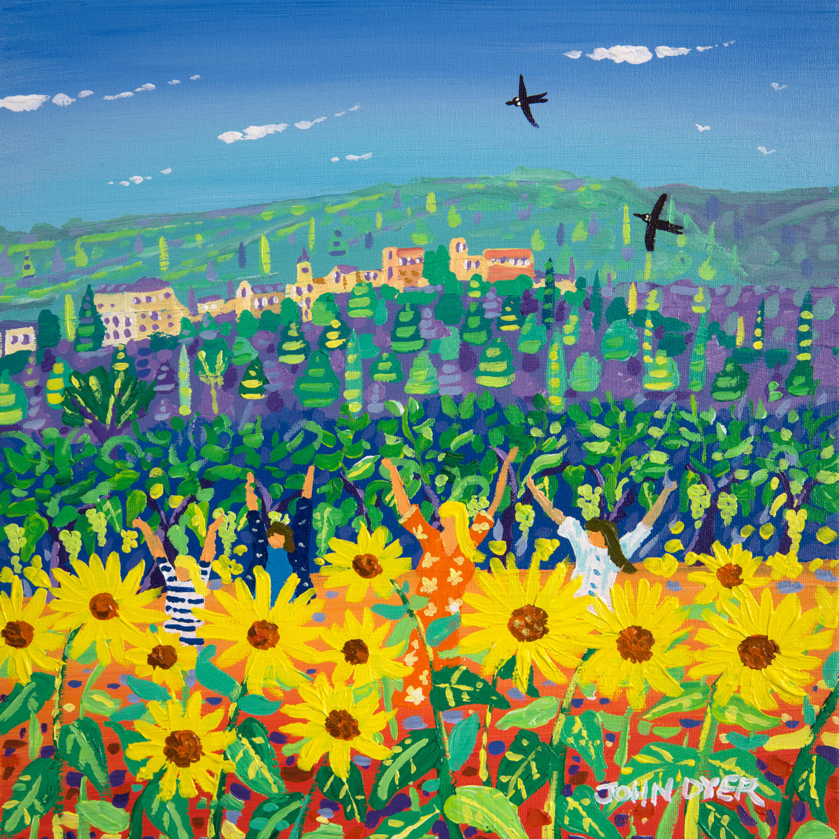 John Dyer Painting. Jumping in the Sunflowers, Ménerbes, Provence