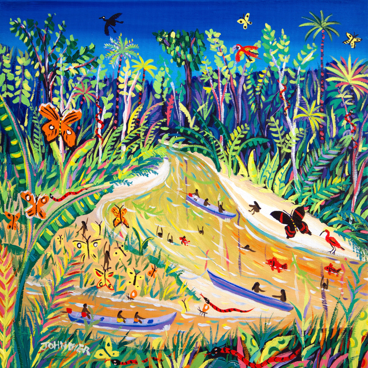 John Dyer Painting. Spiritual Butterflies, Rio Gregório, Amazon Rainforest, Brazil