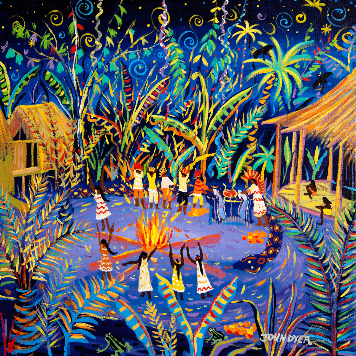 John Dyer Painting. Yawanawá Tribal Ayahuasca Ceremony, Amazon Rainforest