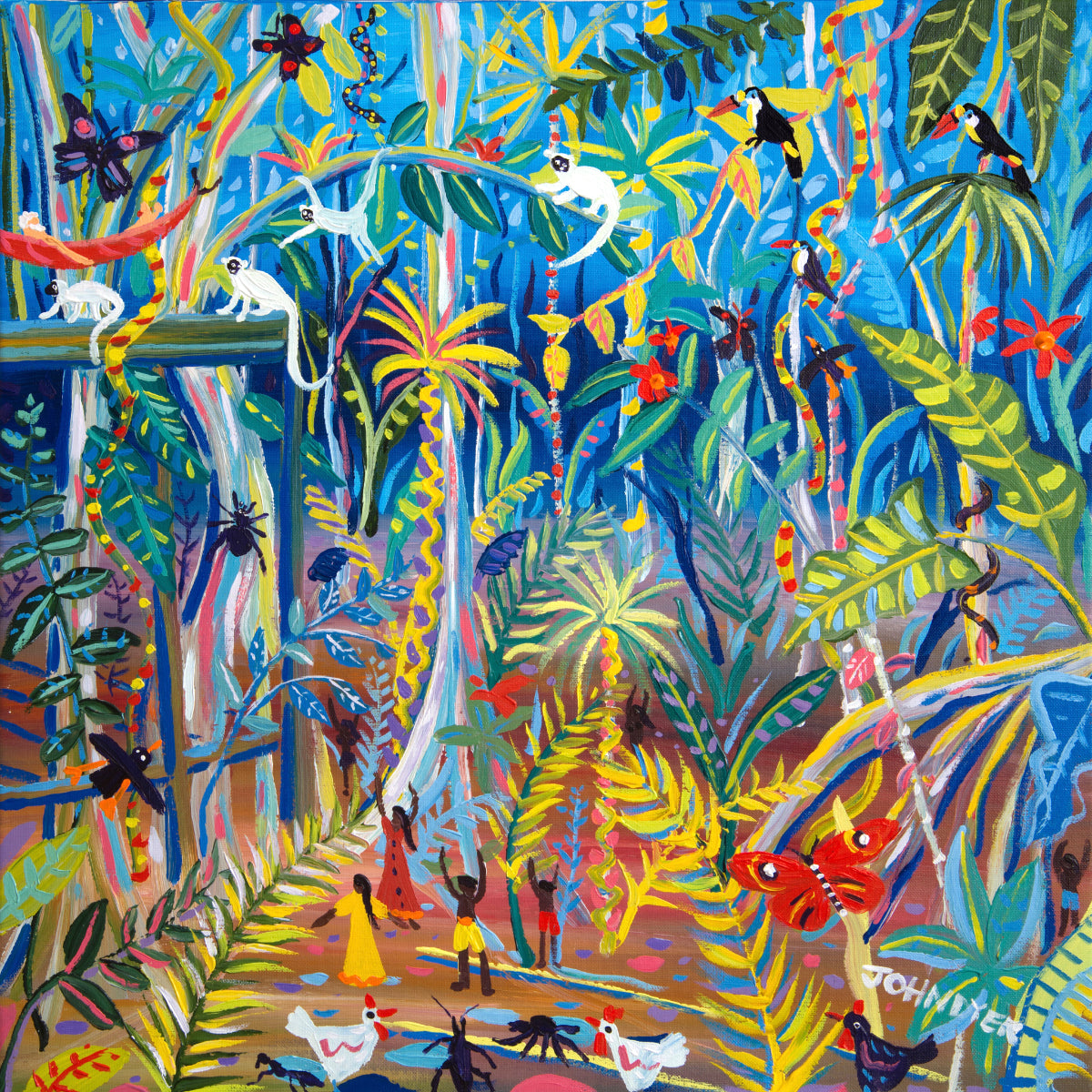 John Dyer Painting. Yawanawá Amazon Rainforest Tree House
