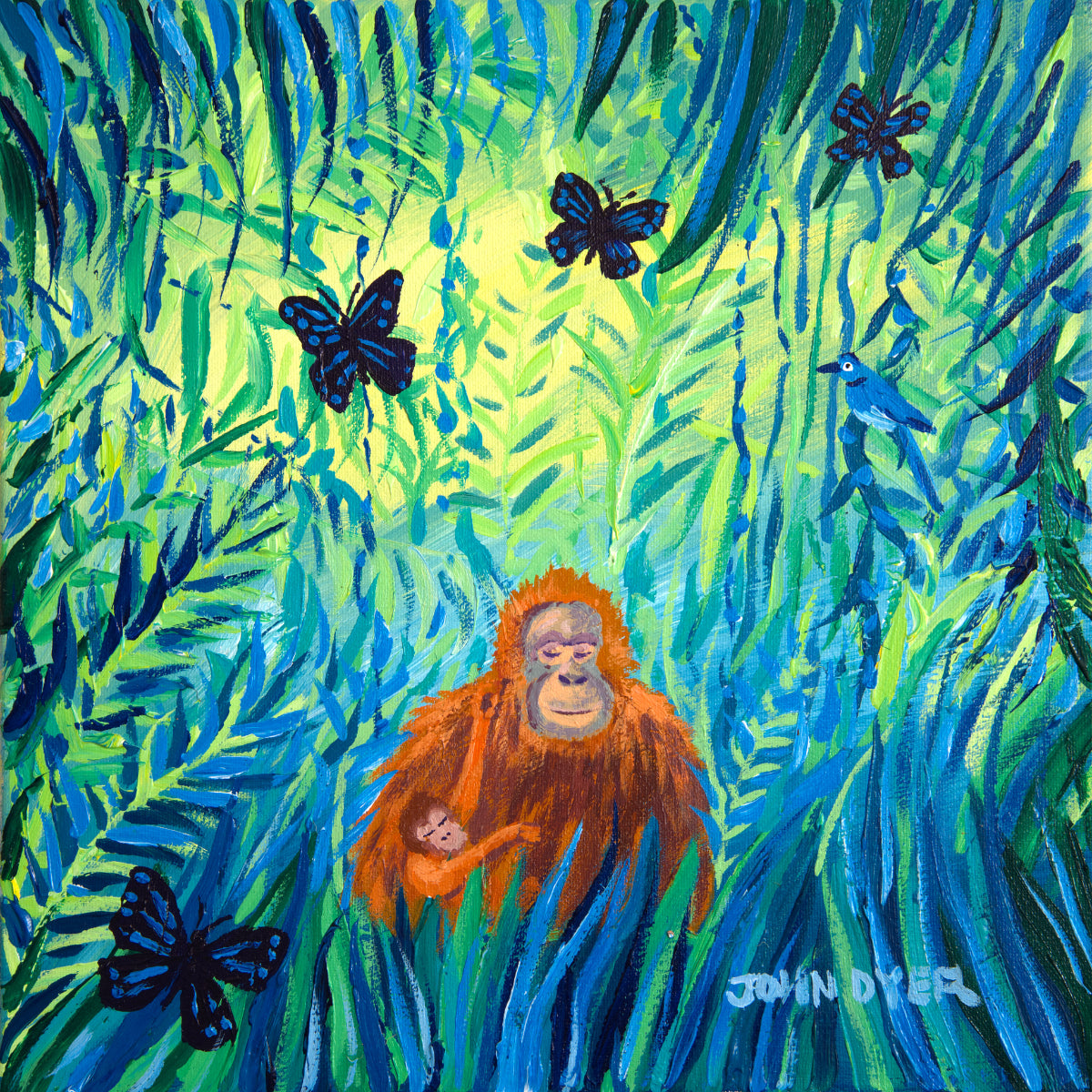 John Dyer Painting. Mother and Child, Borneo Orangutans