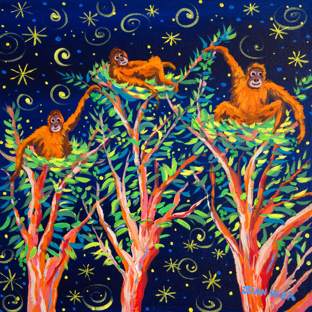 John Dyer Painting. Stargazing Orangutans, Borneo. Abbay orangutans in their nests in the rainforest of Borneo.